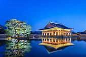 Gyeongbokgung Palace at night, Seoul, South Korea