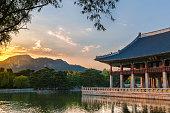 Gyeonghweru Pavilion reflected in a lake at Gyeongbokgung Palace in Seoul, South Korea.
