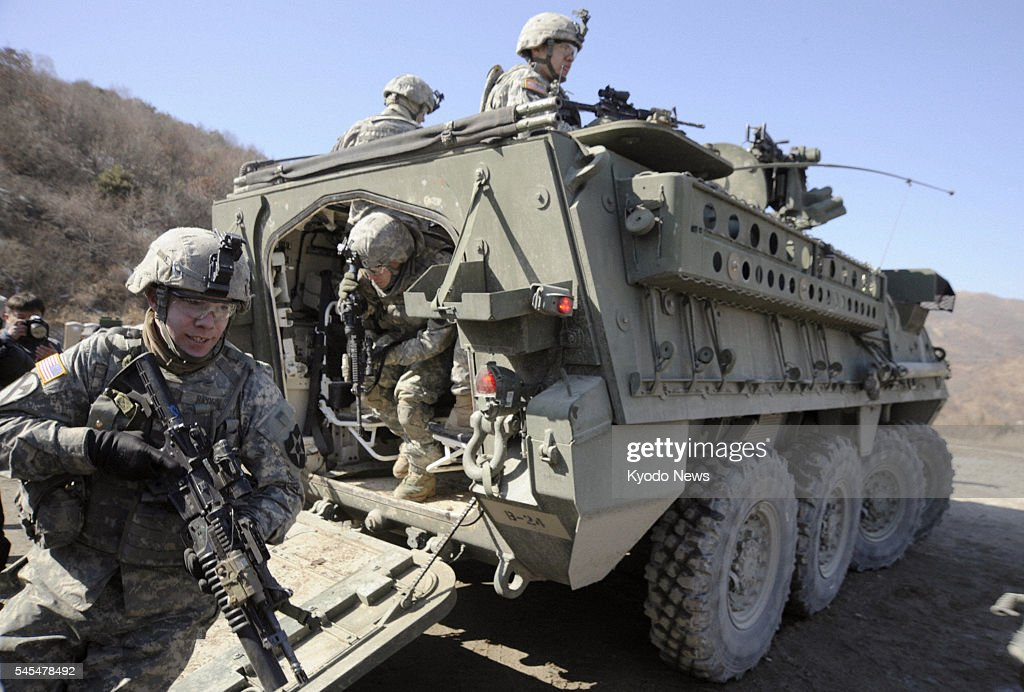 Gyeonggi South Korea Soldiers take part in a South Korea US joint military exercise in Pocheon in South Korea's Gyeonggi Province on March 7 2011