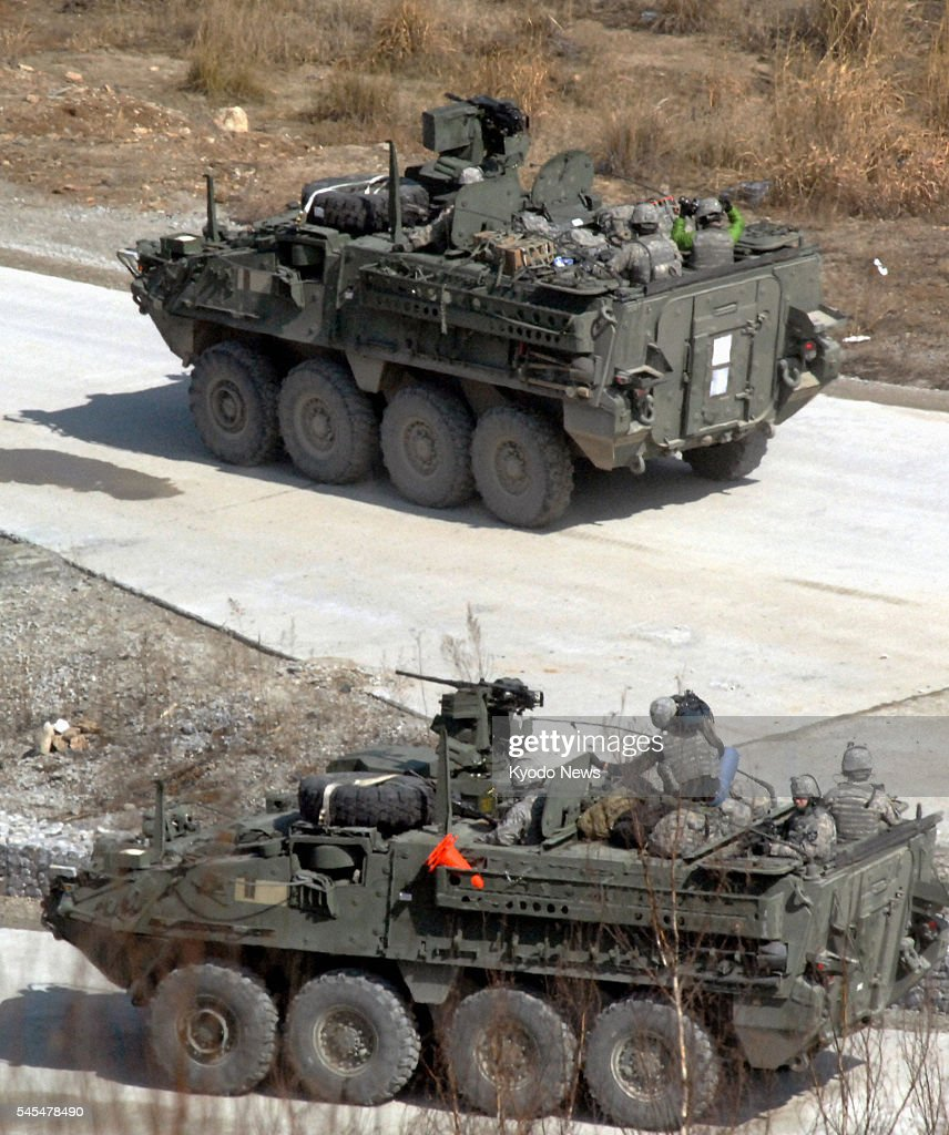 Gyeonggi South Korea US armored vehicles are seen during a South Korea US joint military exercise in Pocheon in South Korea's Gyeonggi Province on...