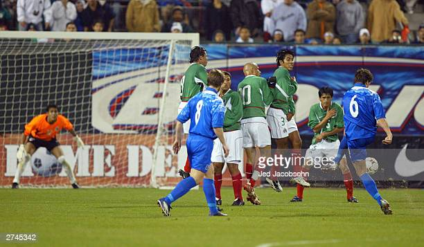 Gylfi Einarsson of Iceland shoots on goal against Mexico during a game on November 19 2003 at Pac Bell Park in San Francisco California