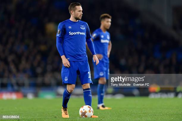 Gylfi Sigurdsson during the UEFA Europa League group E match between Everton and Olympique Lyon at Goodison Park on October 19 2017 in Liverpool...