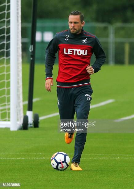 Gylfi Sigurdsson in action during the Swansea City Training at The Fairwood Training Ground on July 11 2017 in Swansea Wales