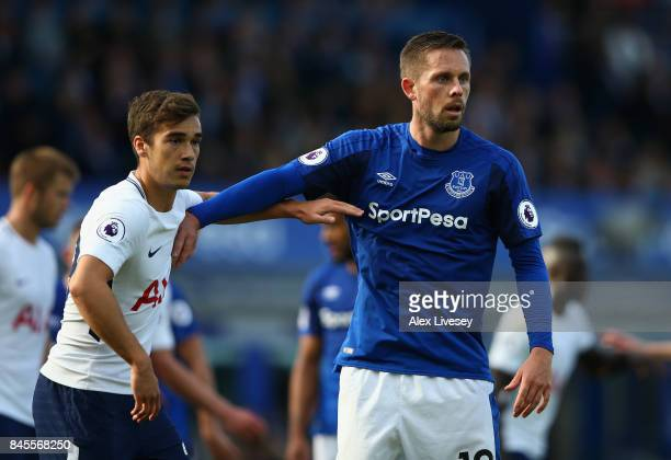 Gylfi Sigurdsson of Everton and Harry Winks of Tottenham Hotspur contest a corner during the Premier League match between Everton and Tottenham...