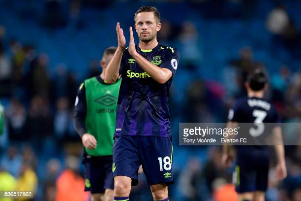 Gylfi Sigurdsson of Everton applauds the travelling fans after the Premier League match between Manchester City and Everton at Etihad Stadium on...