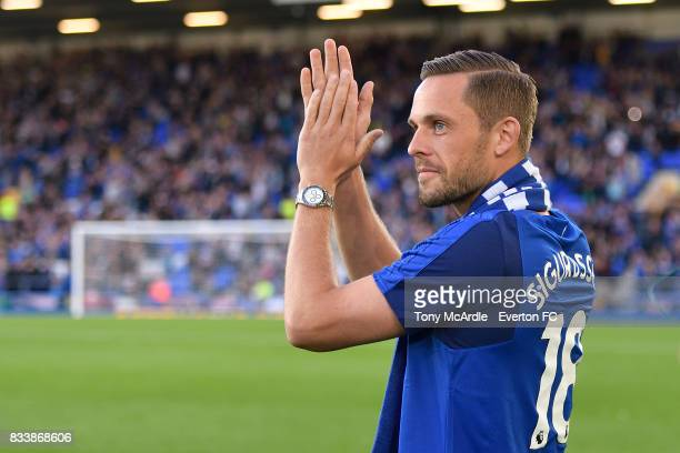 Gylfi Sigurdsson of Everton before the UEFA Europa League Qualifying PlayOff match between Everton and Hajduk Split at Goodison Park on August 17...