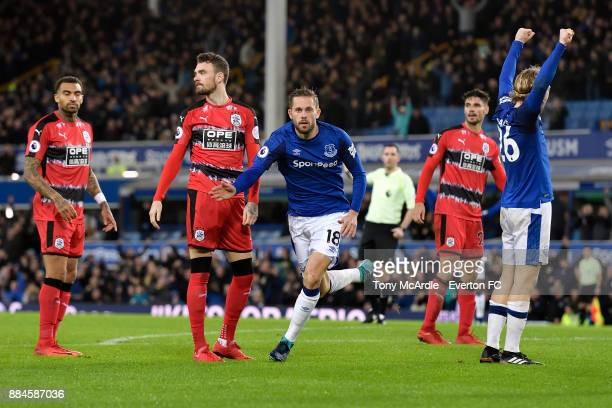 Gylfi Sigurdsson of Everton celebrates his goal during the Premier League match between Everton and Huddersfield Town at Goodison Park on December 2...