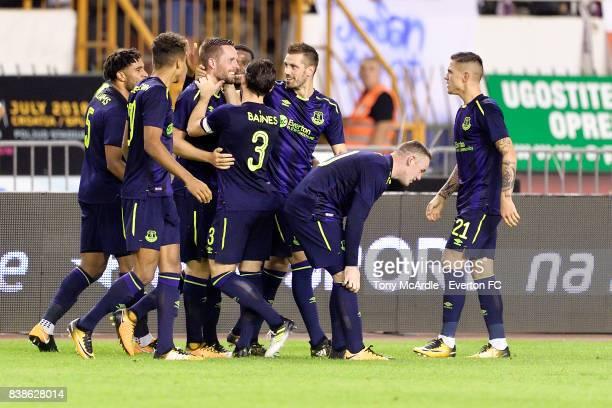 Gylfi Sigurdsson of Everton celebrates his goal during the UEFA Europa League Qualifying PlayOffs round second leg between Hajduk Split and Everton...