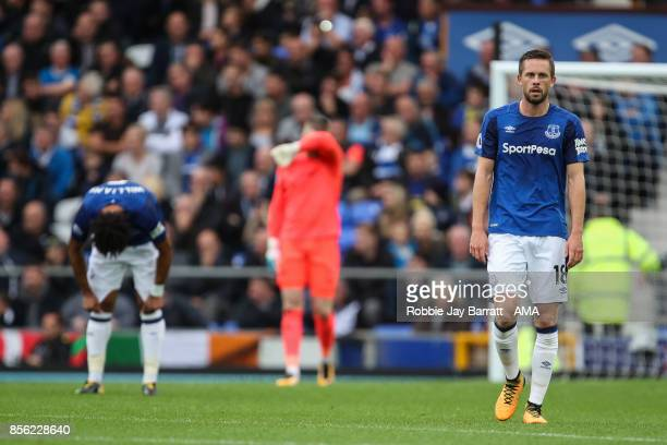 Gylfi Sigurdsson of Everton dejected after conceding during the Premier League match between Everton and Burnley at Goodison Park on October 1 2017...