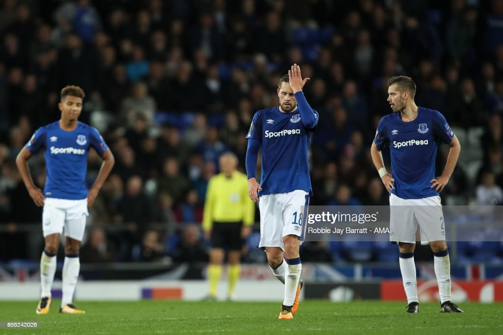 Gylfi Sigurdsson of Everton dejected after conceding to make it 2-2 during the UEFA Europa League group E match between Everton FC and Apollon Limassol at Goodison Park on September 28, 2017 in Liverpool, United Kingdom.