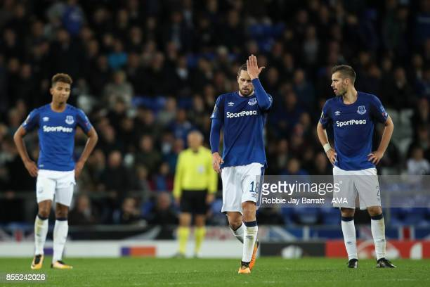 Gylfi Sigurdsson of Everton dejected after conceding to make it 22 during the UEFA Europa League group E match between Everton FC and Apollon...