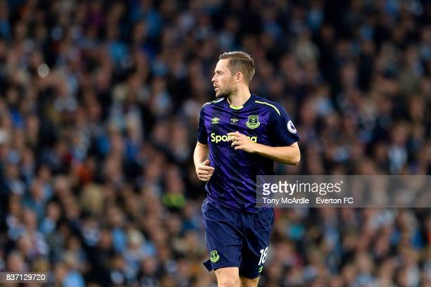 Gylfi Sigurdsson of Everton during the Premier League match between Manchester City and Everton at Etihad Stadium on August 21 2017 in Manchester...
