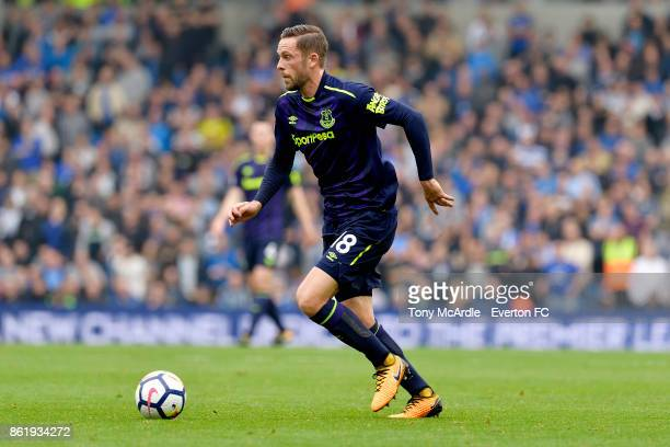 Gylfi Sigurdsson of Everton during the Premier League match between Brighton and Hove Albion and Everton at Amex Stadium on October 15 2017 in...