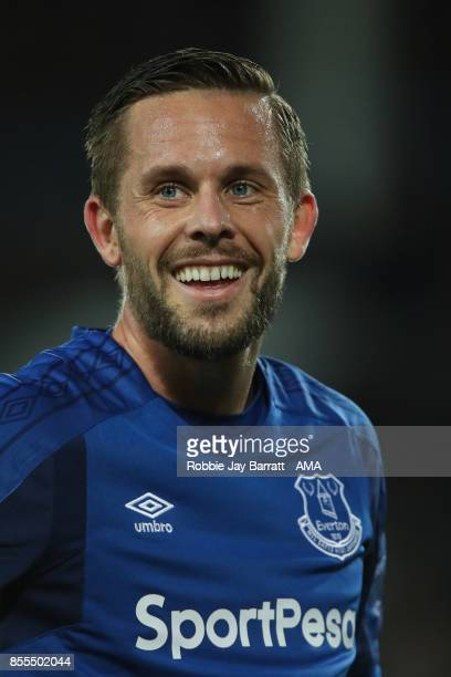 Gylfi Sigurdsson of Everton during the UEFA Europa League group E match between Everton FC and Apollon Limassol at Goodison Park on September 28 2017...
