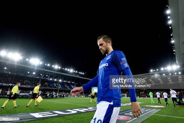 Gylfi Sigurdsson of Everton during the UEFA Europa League match between Everton and Apollon Limassol at Goodison Park on September 28 2017 in...