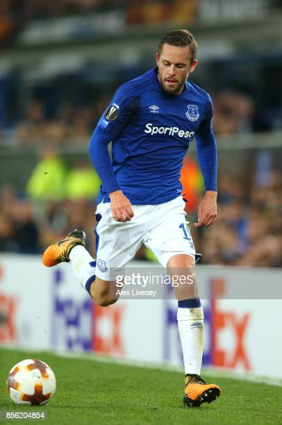 Gylfi Sigurdsson of Everton FC during the UEFA Europa League group E match between Everton FC and Apollon Limassol at Goodison Park on September 28...