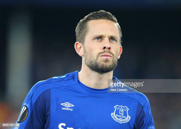 Gylfi Sigurdsson of Everton FC lines up prior to the UEFA Europa League group E match between Everton FC and Apollon Limassol at Goodison Park on...