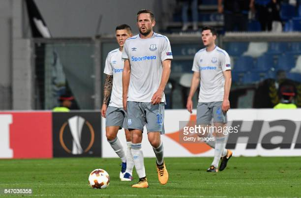 Gylfi Sigurdsson of Everton FC reacts during the UEFA Europa League group E match between Atalanta and Everton FC at Stadio Citta del Tricolore on...
