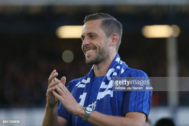 Gylfi Sigurdsson of Everton is unveiled to the Everton fans during the UEFA Europa League Qualifying PlayOffs round first leg match between Everton...