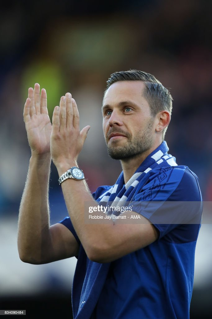 Gylfi Sigurdsson of Everton is unveiled to the fans prior to the UEFA Europa League Qualifying Play-Offs round first leg match between Everton FC and Hajduk Split at Goodison Park on August 17, 2017 in Liverpool, United Kingdom.