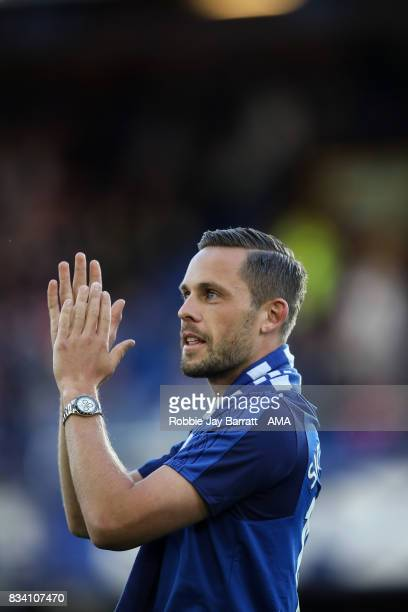 Gylfi Sigurdsson of Everton is unveiled to the fans prior to the UEFA Europa League Qualifying PlayOffs round first leg match between Everton FC and...