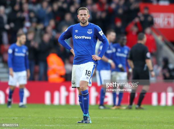 Gylfi Sigurdsson of Everton looks dejected after Steven Davis of Southampton scored the 4th Southampton goal during the Premier League match between...