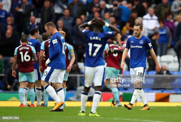 Gylfi Sigurdsson of Everton looks dejected after the Premier League match between Everton and Burnley at Goodison Park on October 1 2017 in Liverpool...