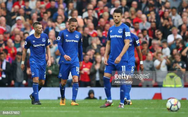 Gylfi Sigurdsson of Everton looks dejected during the Premier League match between Manchester United and Everton at Old Trafford on September 17 2017...