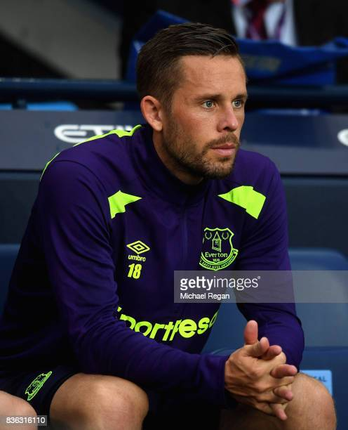 Gylfi Sigurdsson of Everton looks on during the Premier League match between Manchester City and Everton at Etihad Stadium on August 21 2017 in...