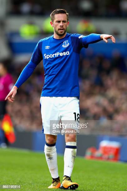 Gylfi Sigurdsson of Everton points during the Premier League match between Everton and Arsenal at Goodison Park on October 22 2017 in Liverpool...