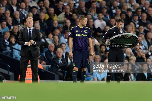 Gylfi Sigurdsson of Everton prepares to make his debut during the Premier League match between Manchester City and Everton at Etihad Stadium on...