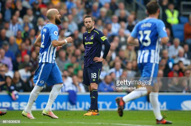 Gylfi Sigurdsson of Everton stands dejected during the Premier League match between Brighton and Hove Albion and Everton at Amex Stadium on October...