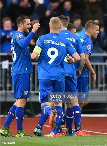 Gylfi Sigurdsson of Iceland celebrates scoring his sides second goal during the UEFA EURO 2016 Qualifier match between Iceland and Latvia at...