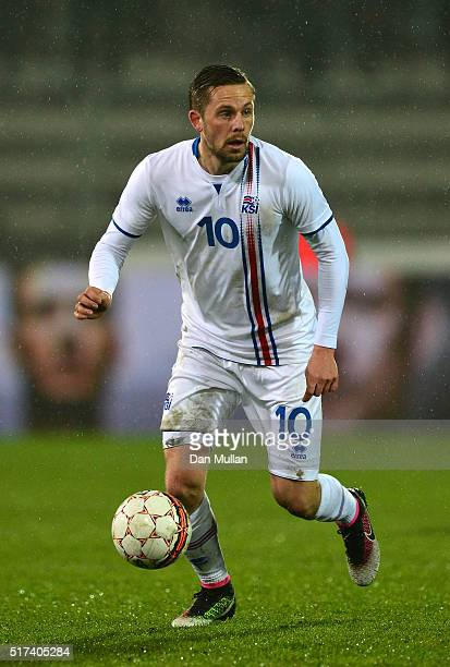 Gylfi Sigurdsson of Iceland controls the ball during the International Friendly match between Denmark and Iceland at the MCH Arena on March 24 2016...