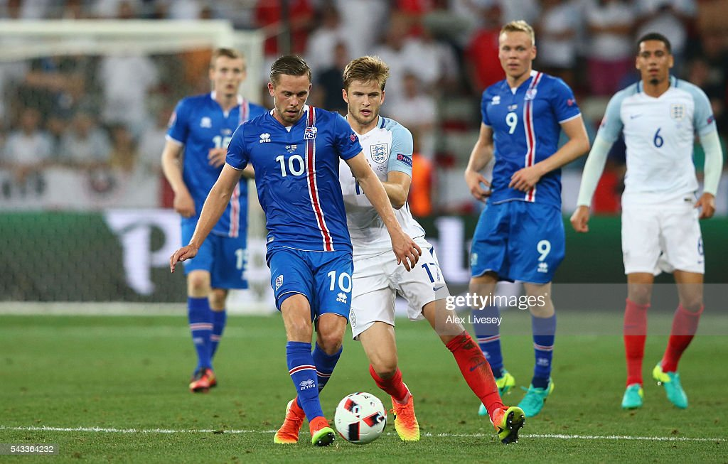 <a gi-track='captionPersonalityLinkClicked' href=/galleries/search?phrase=Gylfi+Sigurdsson&family=editorial&specificpeople=6401581 ng-click='$event.stopPropagation()'>Gylfi Sigurdsson</a> of Iceland controls the ball under pressure of <a gi-track='captionPersonalityLinkClicked' href=/galleries/search?phrase=Eric+Dier&family=editorial&specificpeople=9440610 ng-click='$event.stopPropagation()'>Eric Dier</a> of England during the UEFA EURO 2016 round of 16 match between England and Iceland at Allianz Riviera Stadium on June 27, 2016 in Nice, France.