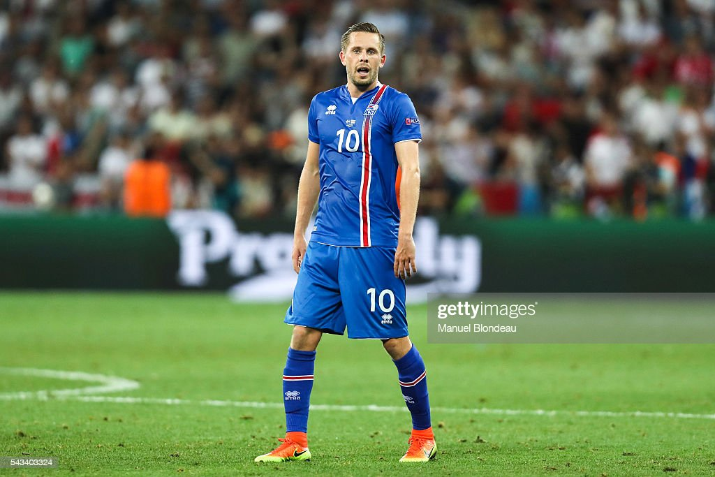 Gylfi Sigurdsson of Iceland during the European Championship match Round of 16 between England and Iceland at Allianz Riviera Stadium on June 27, 2016 in Nice, France.