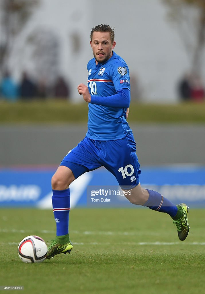 Gylfi Sigurdsson of Iceland in action during the UEFA EURO 2016 Qualifier match between Iceland and Latvia at Laugardalsvollur National Stadium on...