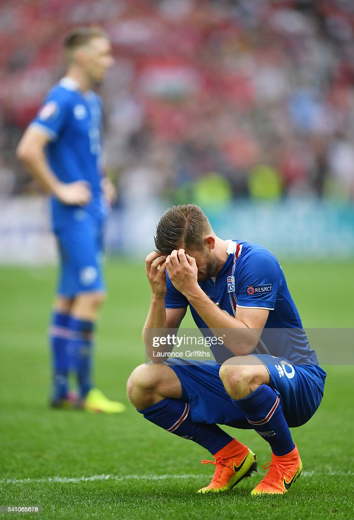 <a gi-track='captionPersonalityLinkClicked' href=/galleries/search?phrase=Gylfi+Sigurdsson&family=editorial&specificpeople=6401581 ng-click='$event.stopPropagation()'>Gylfi Sigurdsson</a> of Iceland looks dejected after conceding a late goal during the UEFA EURO 2016 Group F match between Iceland and Hungary at Stade Velodrome on June 18, 2016 in Marseille, France.