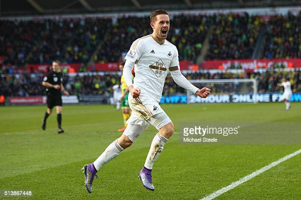 Gylfi Sigurdsson of Swansea City celebrates scoring his team's first goal during the Barclays Premier League match between Swansea City and Norwich...