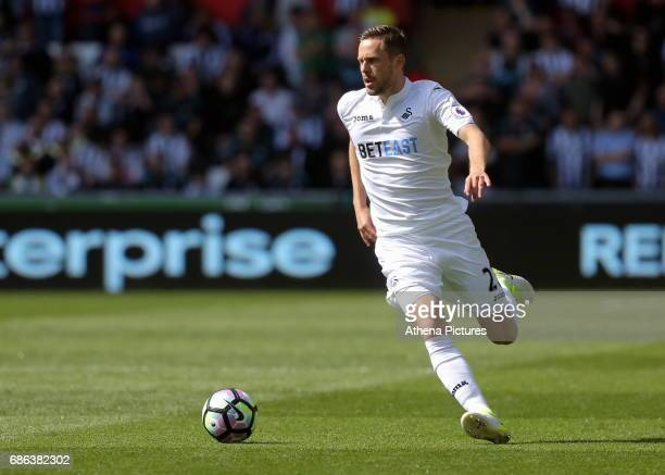 Gylfi Sigurdsson of Swansea City in action during the Premier League match between Swansea City and West Bromwich Albion at The Liberty Stadium on...