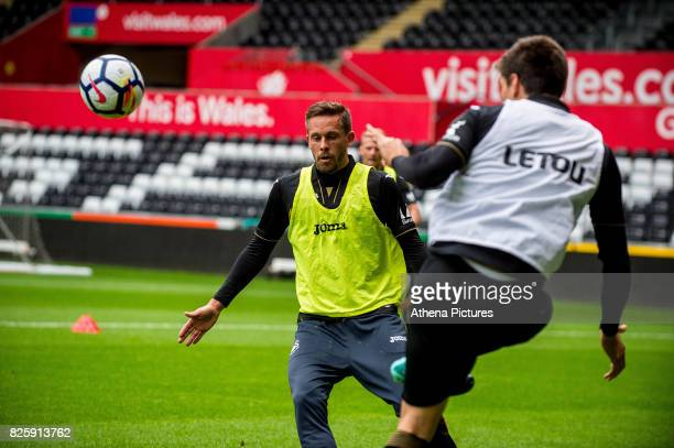 Gylfi Sigurdsson of Swansea City in action during the Swansea City Training SessionThe Liberty Stadium on August 02 2017 in Swansea Wales