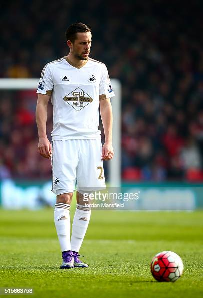 Gylfi Sigurdsson of Swansea City looks on during the Barclays Premier League match between AFC Bournemouth and Swansea City at Vitality Stadium on...