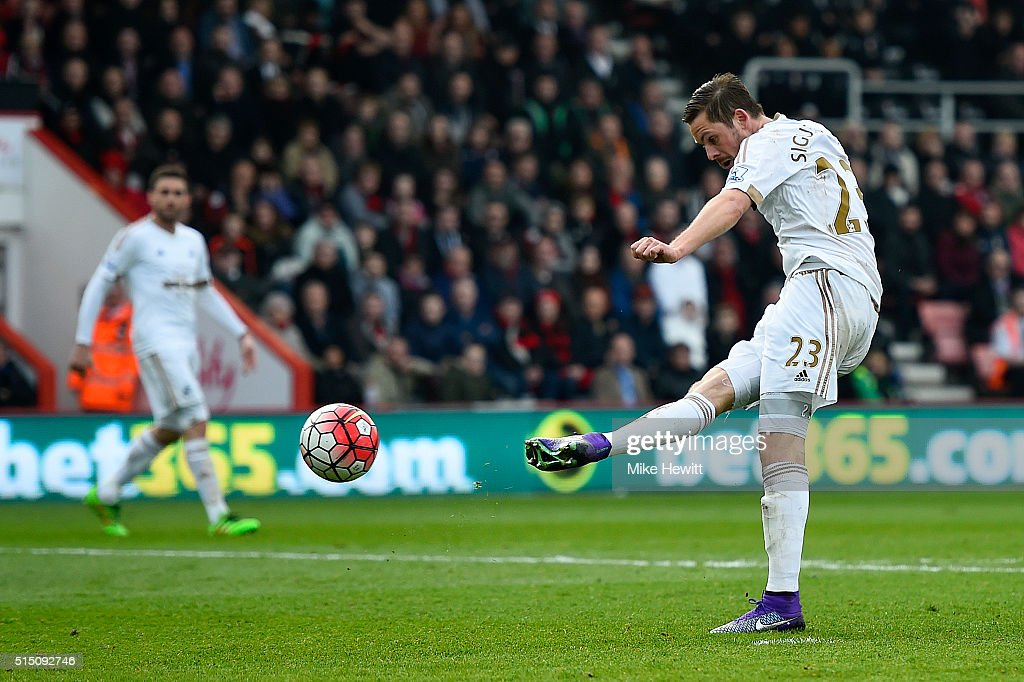 Gylfi Sigurdsson of Swansea City scores his team's second goal during the Barclays Premier League match between AFC Bournemouth and Swansea City at...