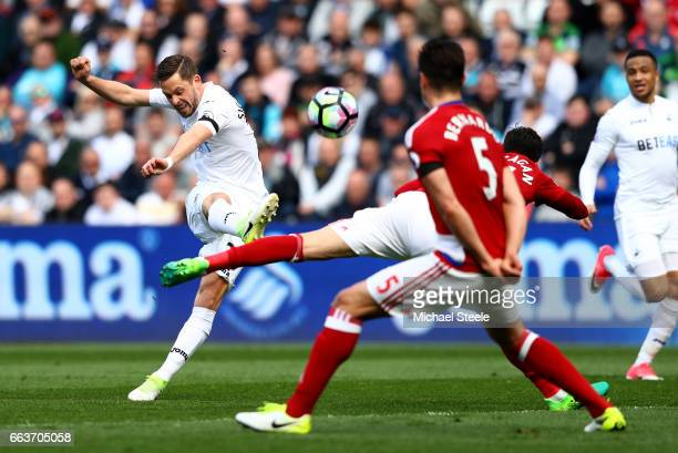 Gylfi Sigurdsson of Swansea City shoots during the Premier League match between Swansea City and Middlesbrough at the Liberty Stadium on April 2 2017...