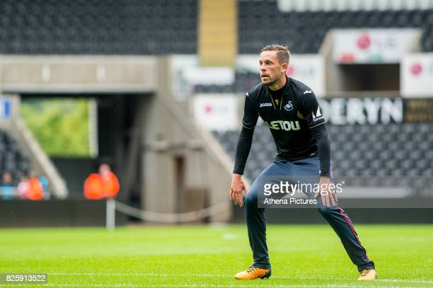 Gylfi Sigurdsson of Swansea City waits for the ball during the Swansea City Training SessionThe Liberty Stadium on August 02 2017 in Swansea Wales