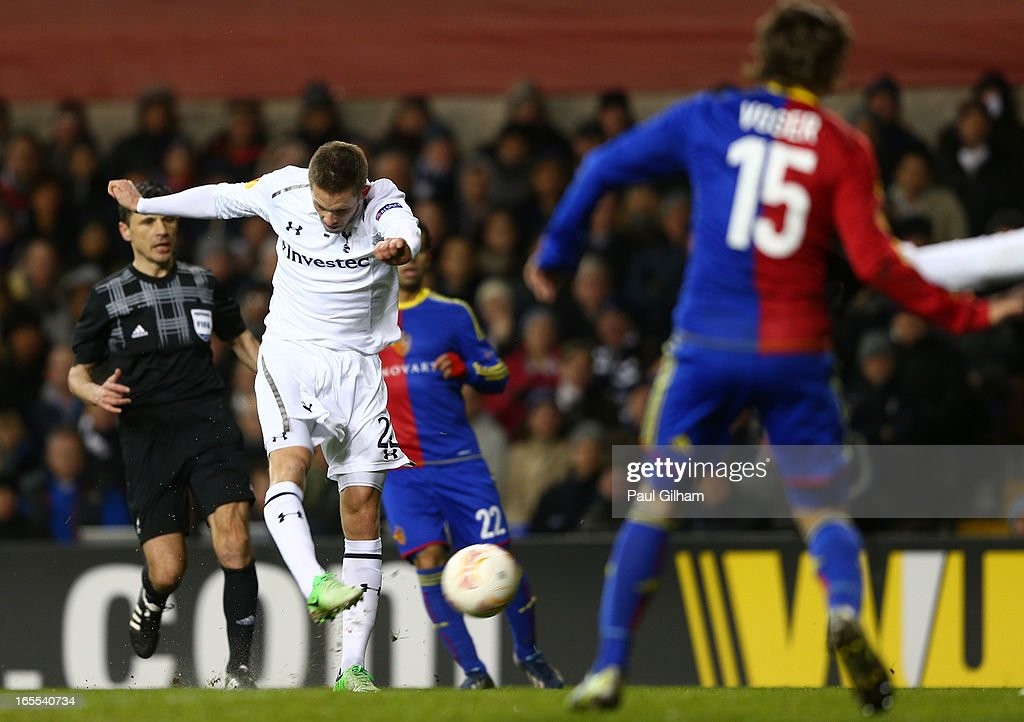 Gylfi Sigurdsson of Tottenham Hotspur scores their second goal during the UEFA Europa League quarter-final first leg between Tottenham Hotspur FC and FC Basel 1893 at White Hart Lane on April 4, 2013 in London, England.