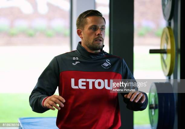 Gylfi Sigurdsson trains in the gym during the Swansea City Training at The Fairwood Training Ground on July 11 2017 in Swansea Wales