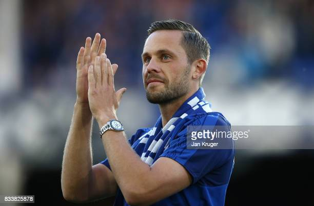 Gylfi Sigurosson of Everton is introduced during the UEFA Europa League Qualifying PlayOffs round first leg match between Everton FC and Hajduk Split...