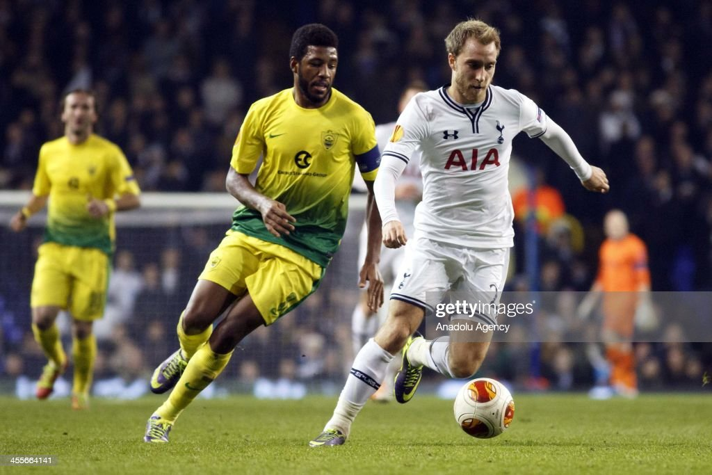 Gylfi Sigurosson of Tottenham in action with Jucilei of FC Anji during the UEFA Erupe league Group K match at White Hart Lane in London England on...