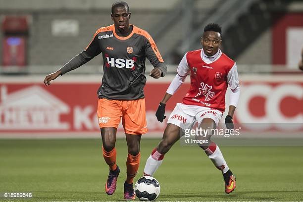 Gylliano van Velzen of FC Volendam Kelechi Nwakali of MVVduring the Jupiler League match between MVV Maastricht and FC Volendam at the Geusselt on...
